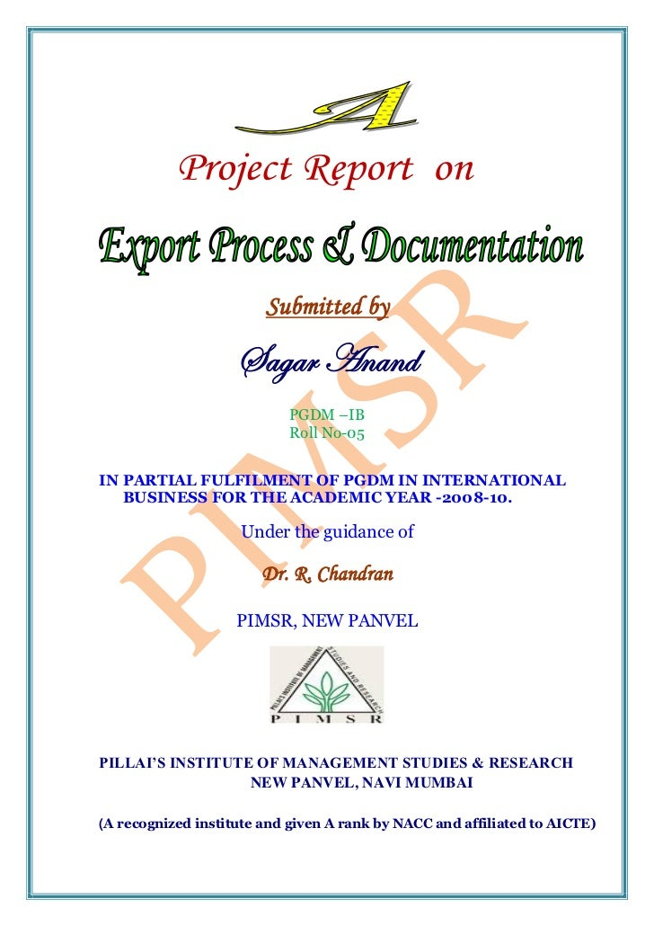 PROJECT REPORT ON EXPORT PROCESS AND DOCUMENTATION