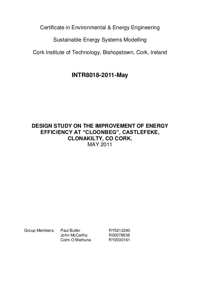 Certificate in Environmental & Energy Engineering Sustainable Energy Systems Modelling Cork Institute of Technology, Bisho...