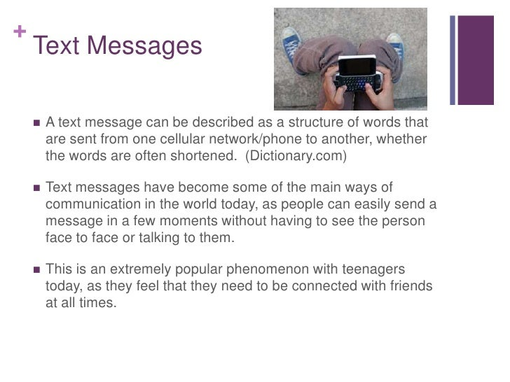 the effects of text messaging in Negative effects of text messaging by marina myers there are many different effects of text messaging, each differing in its seriousness following are ten different negative effects of texting.
