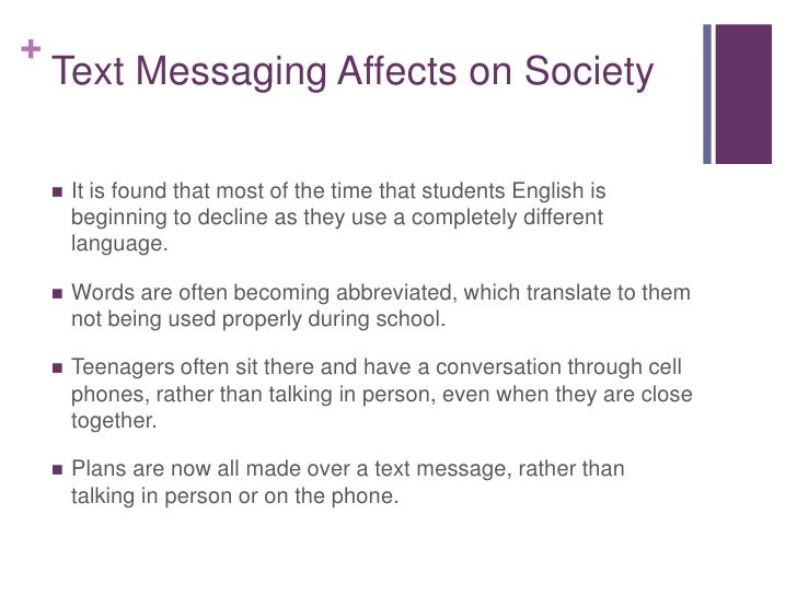 effects of texting in vocabulary Three experiments were conducted to assess the effects of vocabulary trieving word meanings), and text organization (constructing meanings from.
