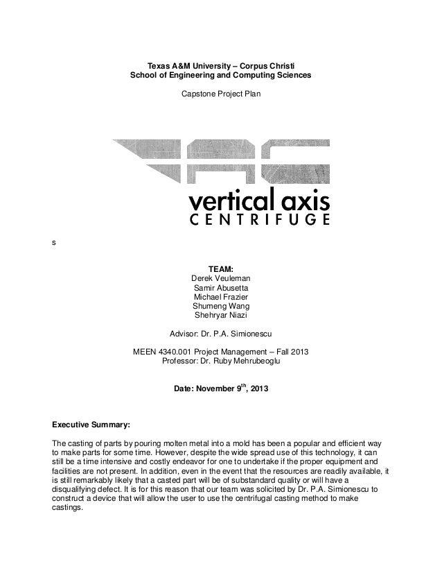 Texas A&M University – Corpus Christi School of Engineering and Computing Sciences Capstone Project Plan  s  TEAM: Derek V...
