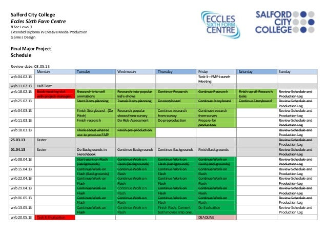 Final project schedule 15th may 2013