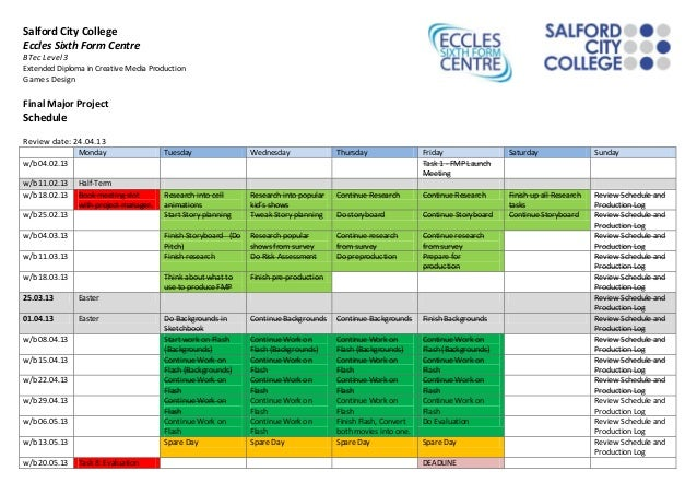 Final project schedule 1st may 2013