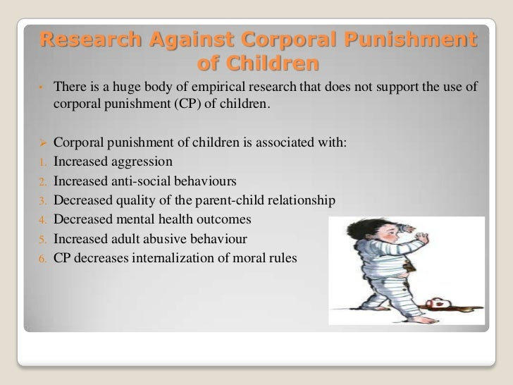 corporal punishment 7 essay Corporal punishment is the act of using physical force to punish a student for wrongdoing it might involve a ruler across the back of the hand or a cane to the rear corporal punishment has since been outlawed as a cruel and unusual punishment in this essay, i explore the for and against of implementing corporal punishment within education.