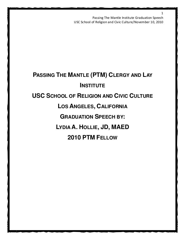 1                         Passing The Mantle Institute Graduation Speech             USC School of Religion and Civic Cult...