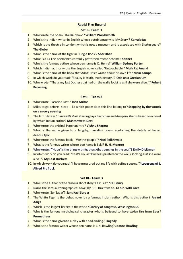 John Keats quiz