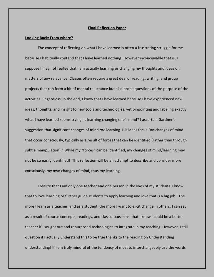 reflective essay example