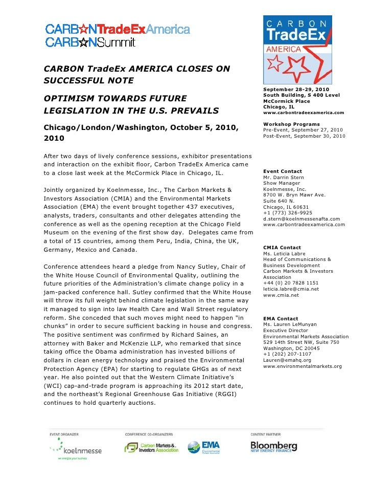 CARBON TradeEx AMERICA CLOSES ON SUCCESSFUL NOTE