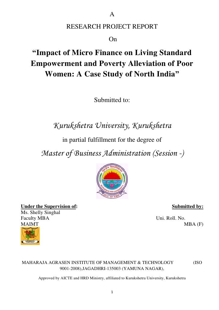 "A                       RESEARCH PROJECT REPORT                                               On    ""Impact of Micro Finan..."