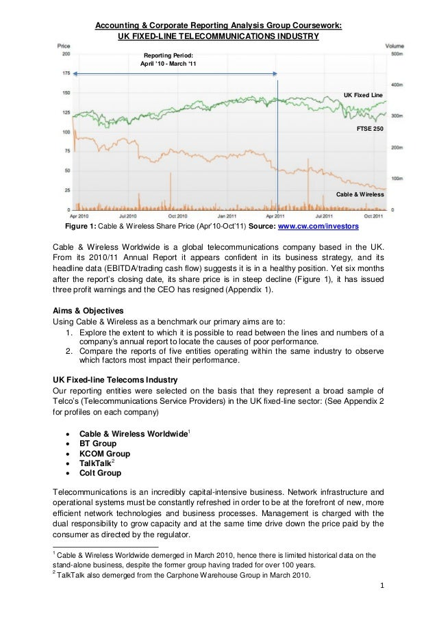 Corporate Reporting Analysis: Cable & Wireless / UK Fixed line