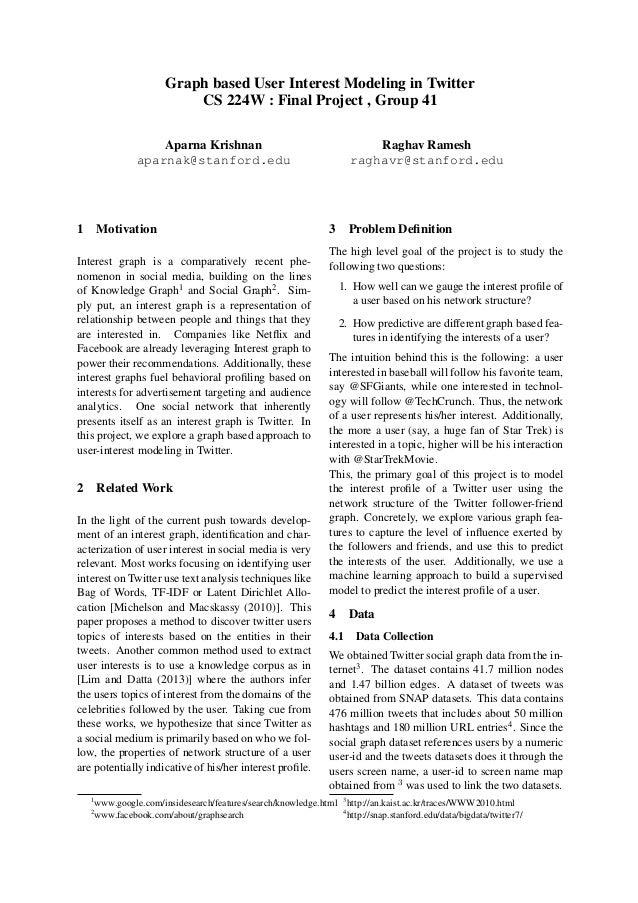 Graph based User Interest Modeling in Twitter CS 224W : Final Project , Group 41 Aparna Krishnan aparnak@stanford.edu  1  ...