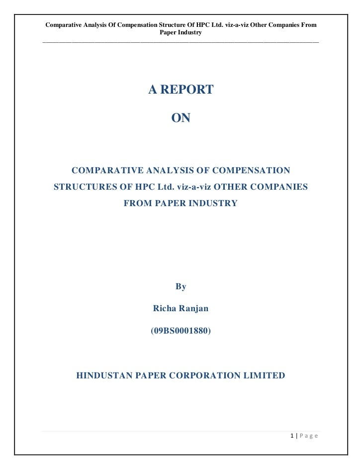 Comparative Analysis of Compesation Structure of HPC Ltd. vis-a-vis Other Companies of Same Industry