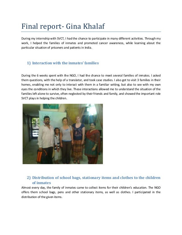 Final report- Gina KhalafDuring my internship with SVCT, I had the chance to participate in many different activities. Thr...
