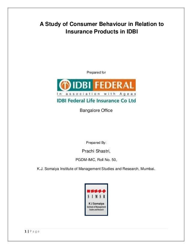 Idbi Federal Life Insurance Summer Internship Report