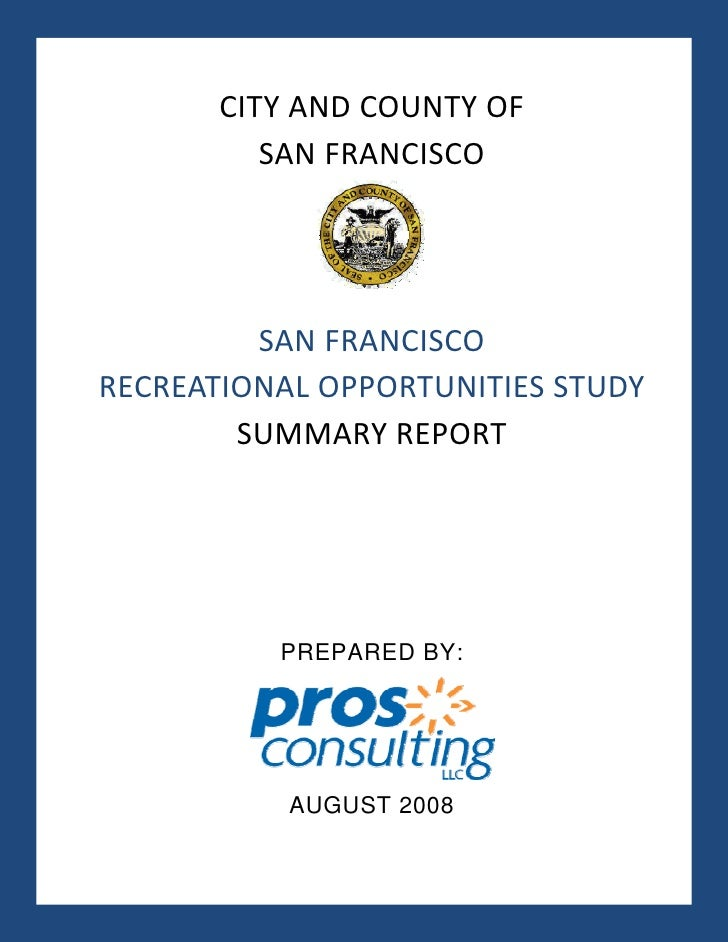 SF Recreational Opportunities Study
