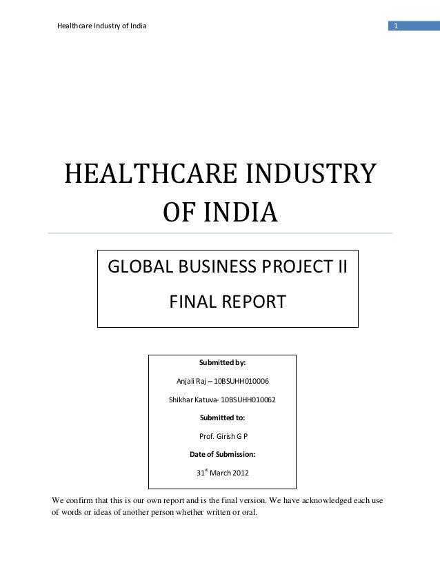 Final report healthcare industry