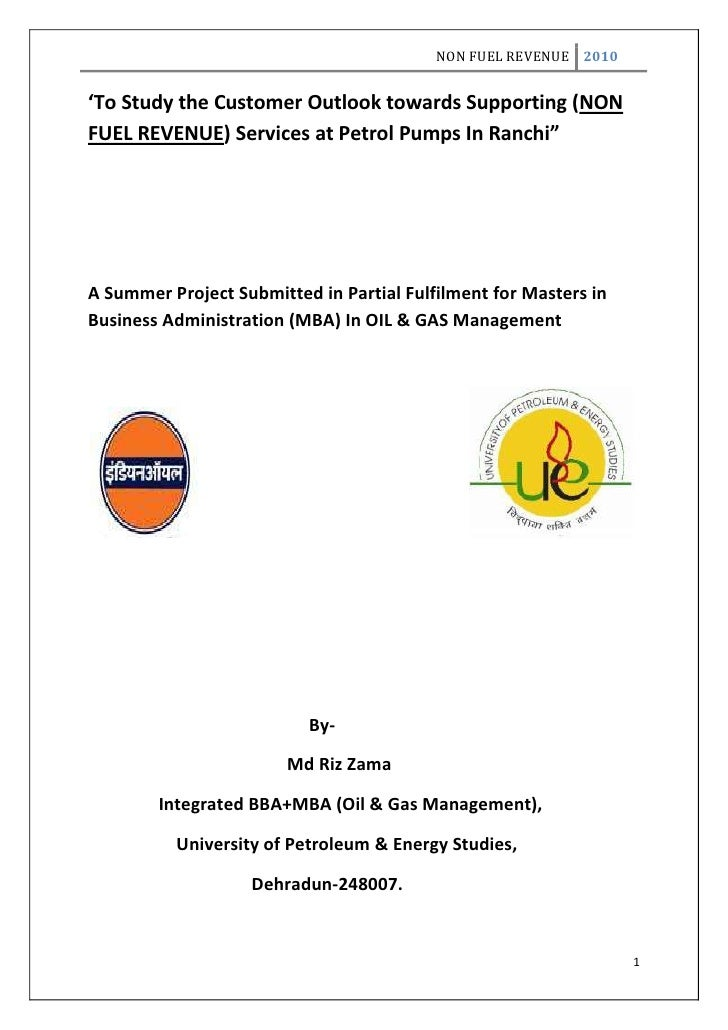 """'To Study the Customer Outlook towards Supporting (NON FUEL REVENUE) Services at Petrol Pumps In Ranchi""""<br />A Summer Pro..."""
