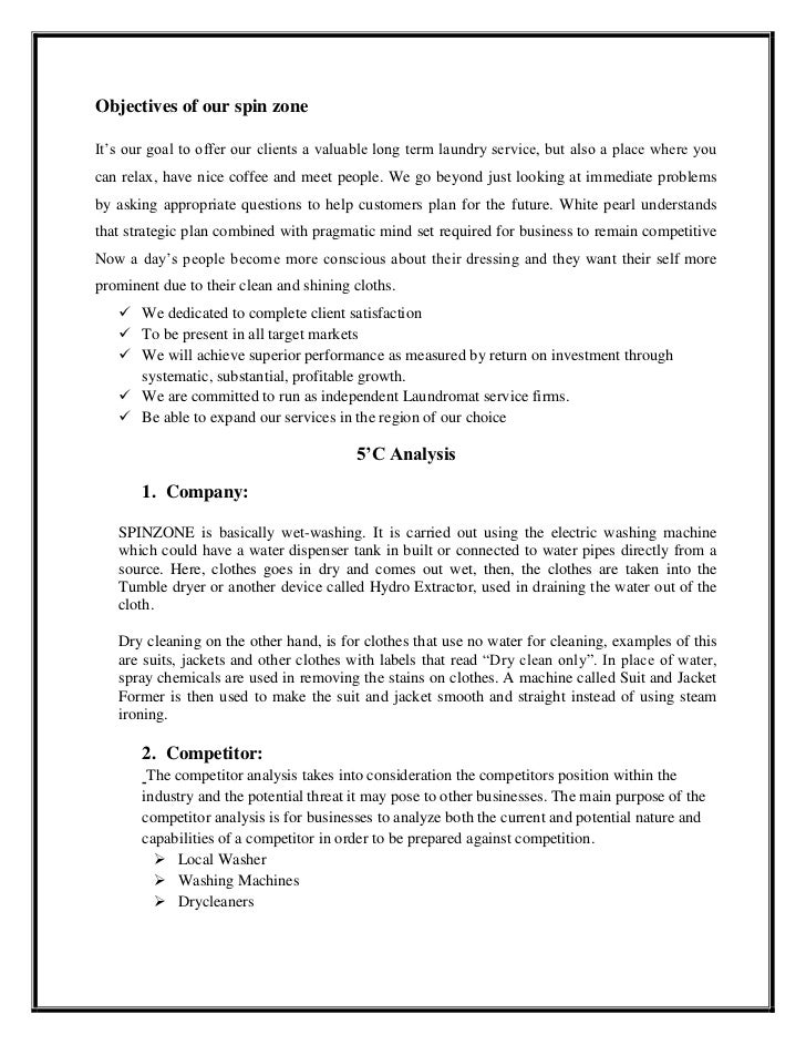 Laundry services business plan
