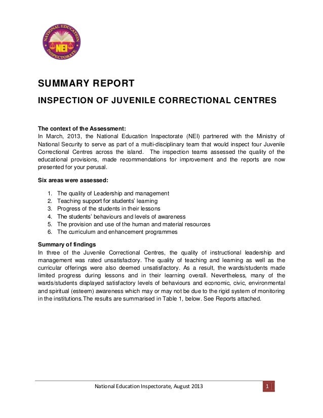 National Education Inspectorate, August 2013 1 SUMMARY REPORT INSPECTION OF JUVENILE CORRECTIONAL CENTRES The context of t...