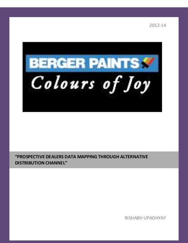 marketing strategy of berger paint internship report This case asian paints india ltd, the global strategies focus on asian paints india ltd has been the market leader in the indian paint industry for over three decades.