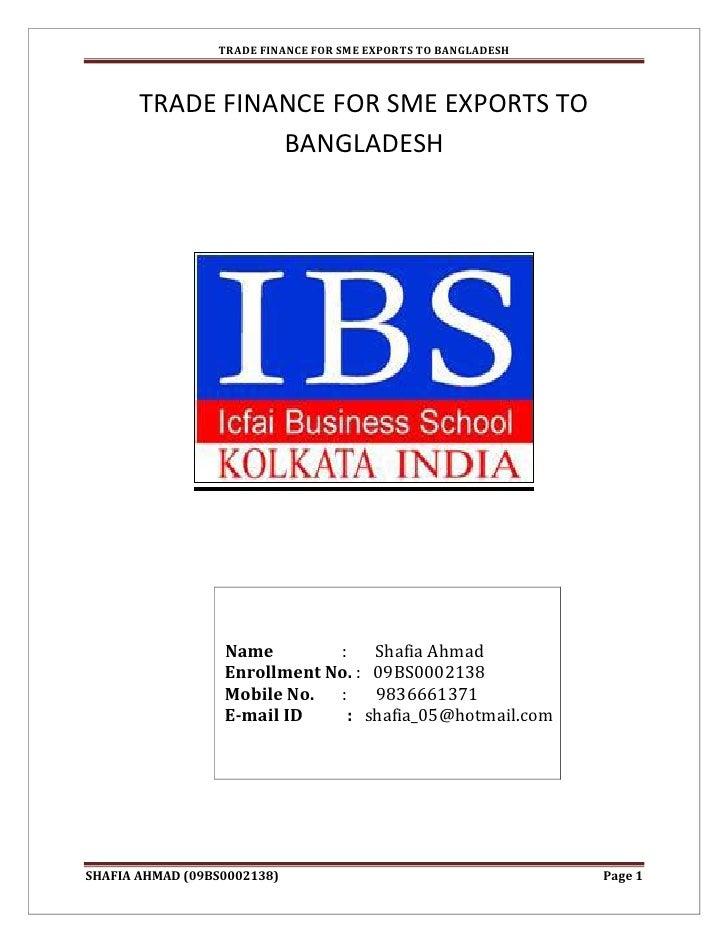 TRADE FINANCE FOR SME EXPORTS TO BANGLADESH           TRADE FINANCE FOR SME EXPORTS TO                  BANGLADESH        ...