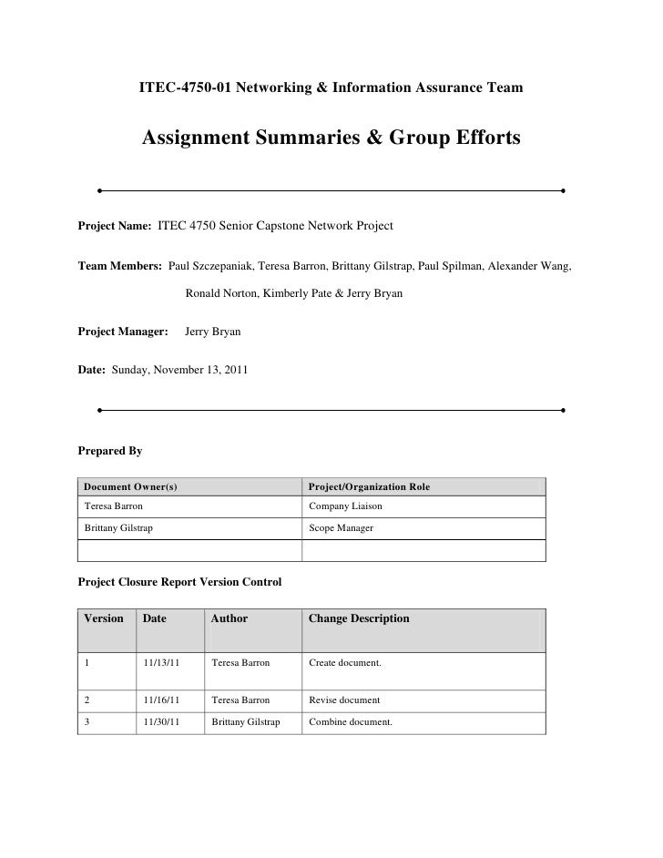 ITEC-4750-01 Networking & Information Assurance Team               Assignment Summaries & Group EffortsProject Name: ITEC ...