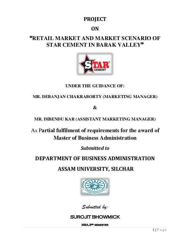 Project Report on Retail Market and Market Scenario of Star Cement In Barak Valley
