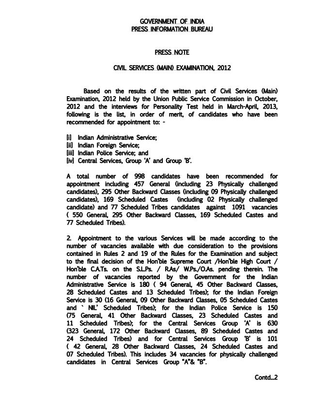 GOVERNMENT OF INDIAPRESS INFORMATION BUREAUPRESS NOTECIVIL SERVICES (MAIN) EXAMINATION, 2012Based on the results of the wr...