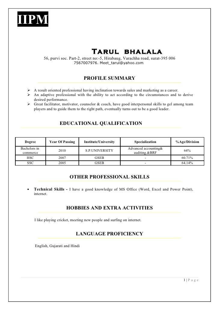 Final resume format