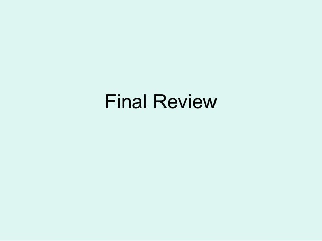 Final review 2013