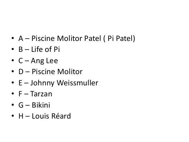 Agnituz quiz finals for Piscine molitor life of pi