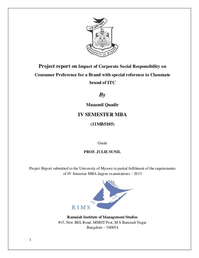 Project report on Impact of Corporate Social Responsibility on    Consumer Preference for a Brand with special reference t...