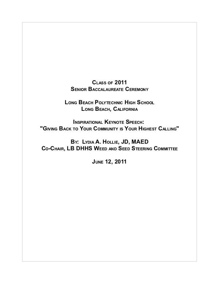 CLASS OF 2011            SENIOR BACCALAUREATE CEREMONY         LONG BEACH POLYTECHNIC HIGH SCHOOL               LONG BEACH...