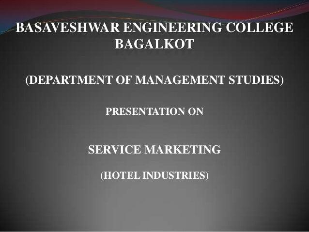 service marketing presentation on Hotel