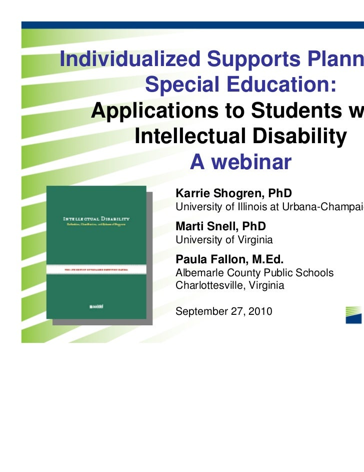 Individualized Supports Planning in        Special Education:   Applications to Students with       Intellectual Disabilit...