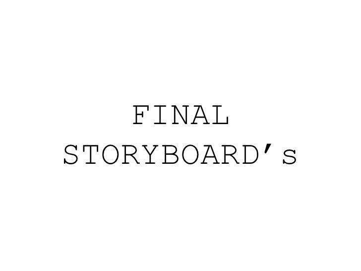 Final storyboard's