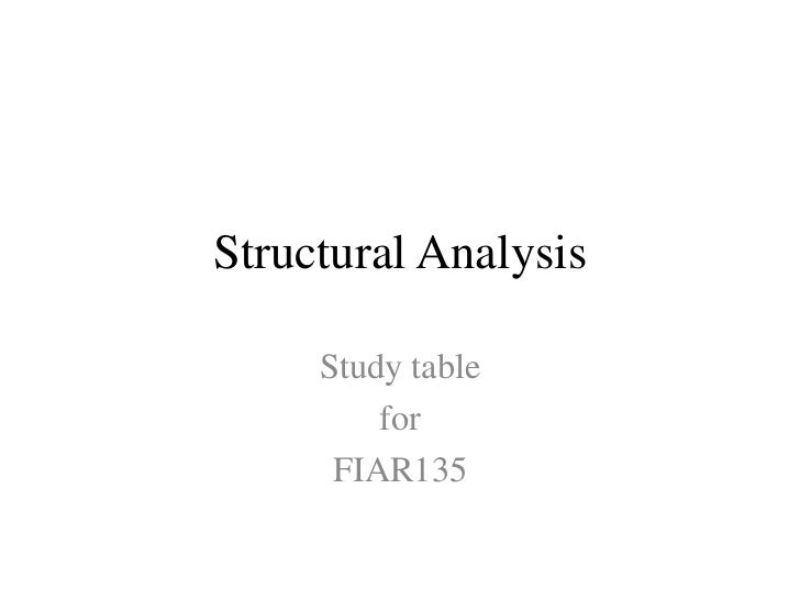 Final structural analysis