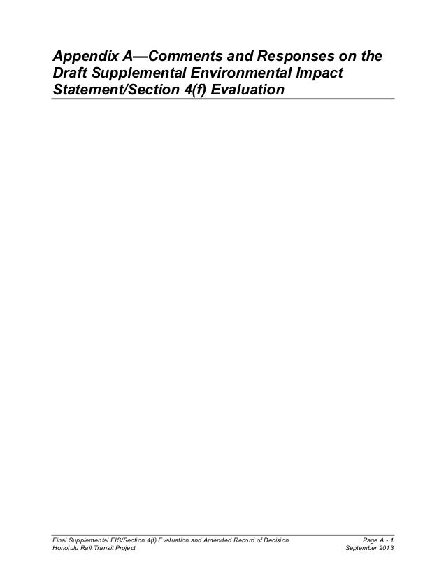 Final Supplemental EIS/Section 4(f) Evaluation and Amended Record of Decision Page A - 1 Honolulu Rail Transit Project Sep...