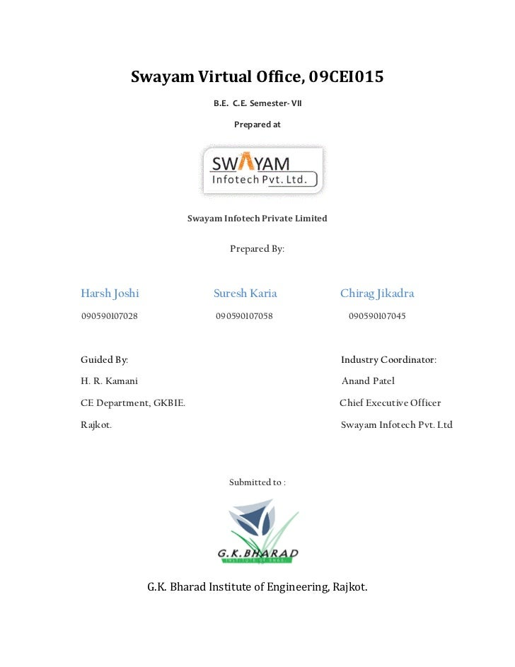 Swayam Virtual Office, 09CEI015                             B.E. C.E. Semester- VII                                  Prepa...