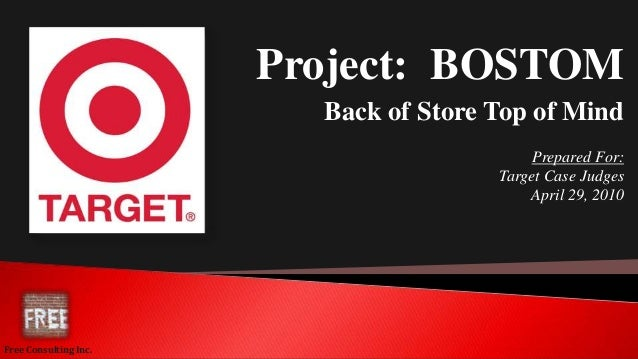 Project: BOSTOM Back of Store Top of Mind Prepared For: Target Case Judges April 29, 2010 Free Consulting Inc.