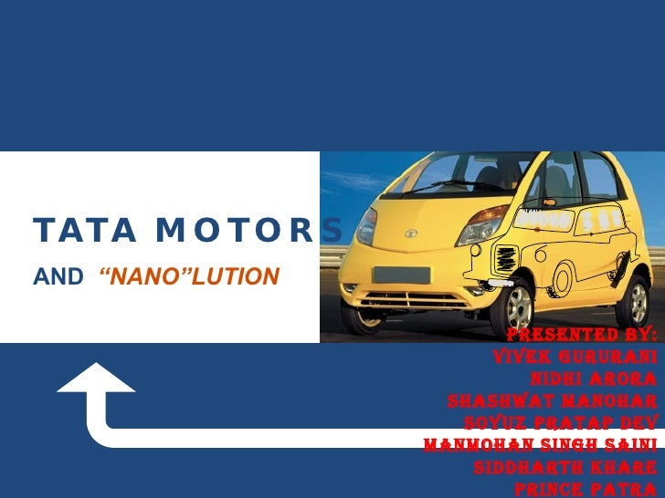 "TATA MOTORS  AND  ""NANO""LUTION PRESENTED BY: VIVEK GURURANI NIDHI ARORA SHASHWAT MANOHAR SOYUZ PRATAP DEV MANMOHAN SINGH S..."