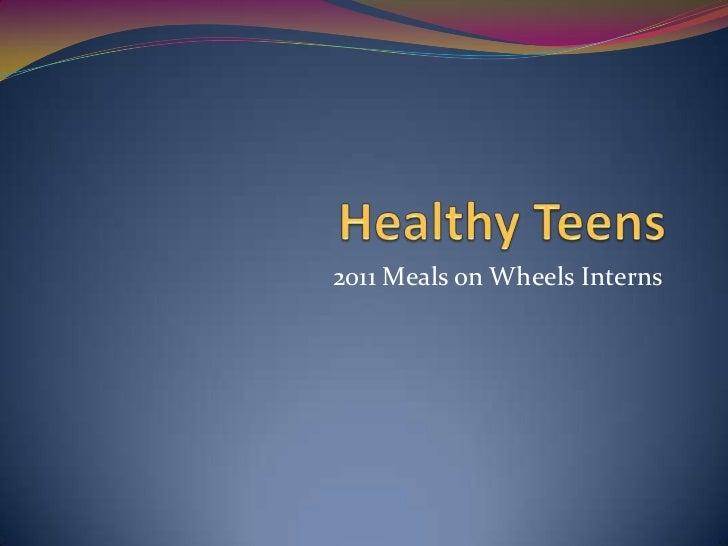 2011 Meals on Wheels Interns