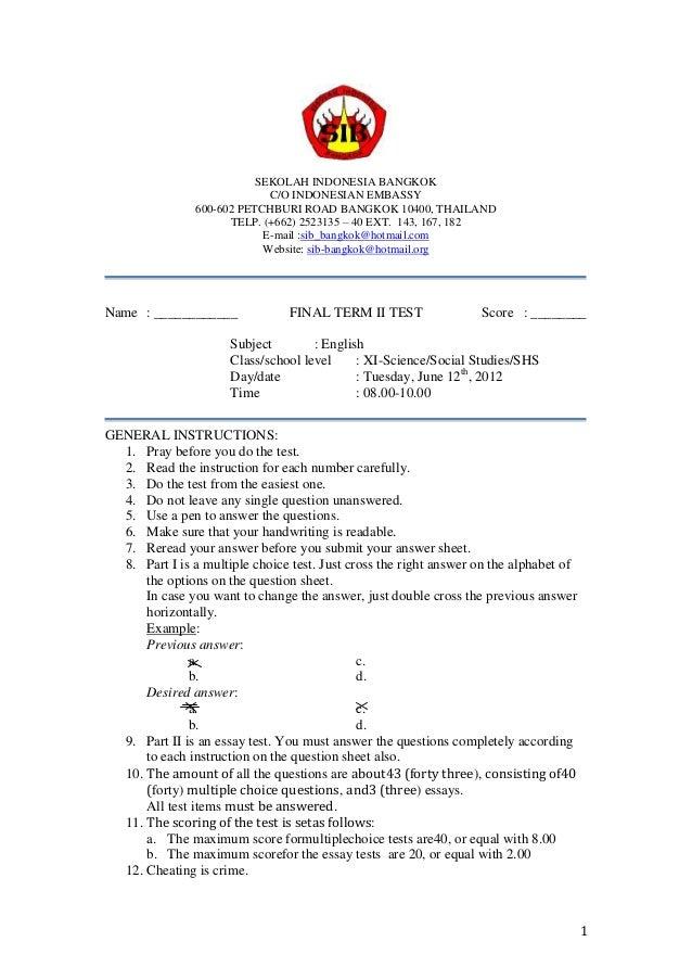 Final term assessment grade 11 2