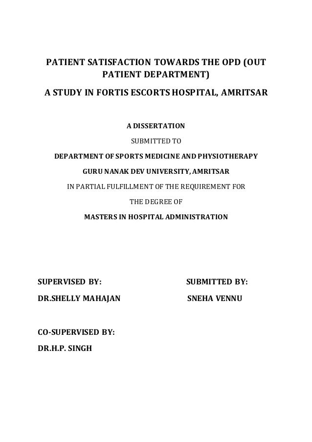 Dissertation health patient public satisfaction service
