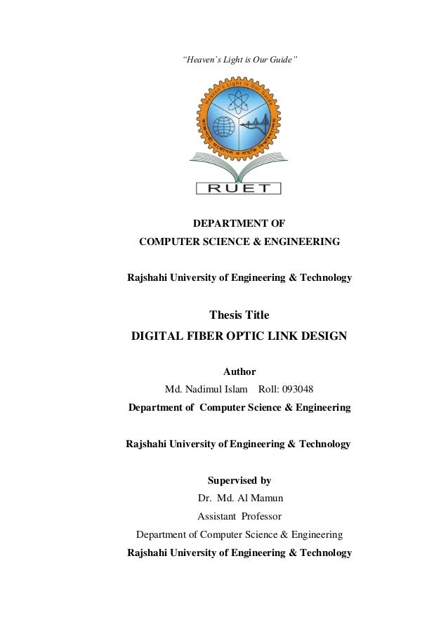 Thesis on optical fiber communication