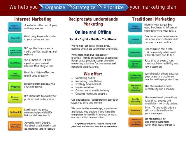 Reciprocate LLC | Traditional and Online Marketing Strategies