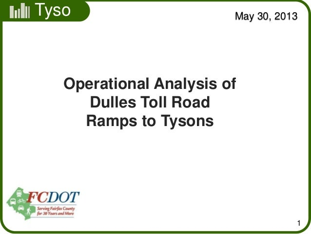 TysonsMay 30, 20131Operational Analysis ofDulles Toll RoadRamps to Tysons