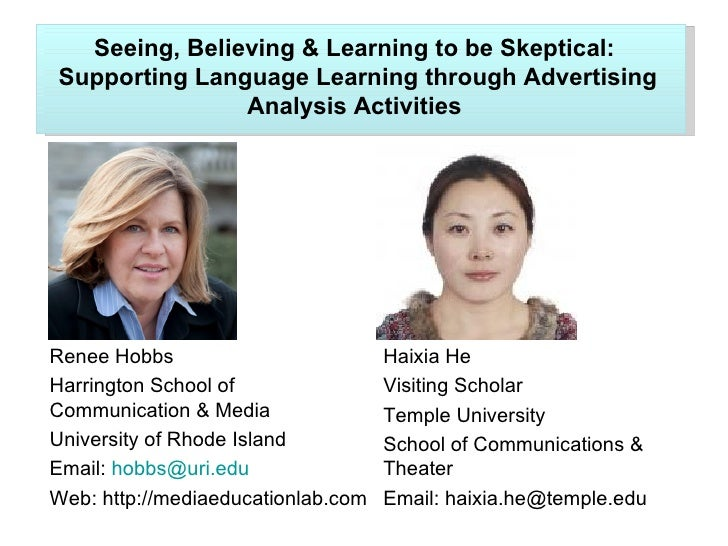 Seeing, Believing & Learning to be Skeptical:Supporting Language Learning through Advertising               Analysis Activ...