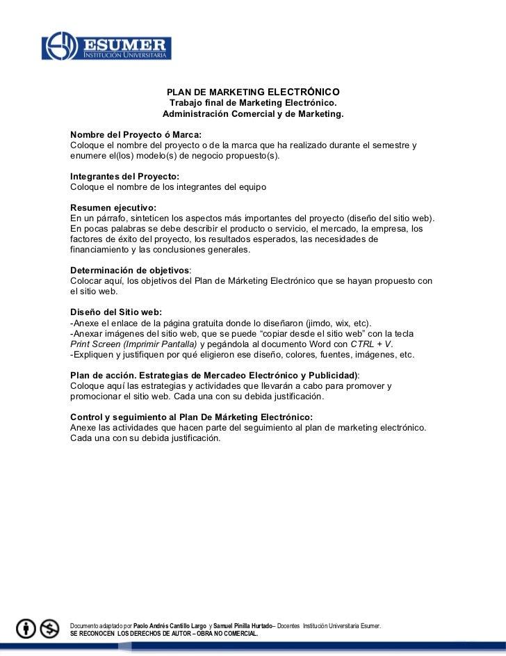 PLAN DE MARKETING ELECTRÓNICO                                    Trabajo final de Marketing Electrónico.                  ...