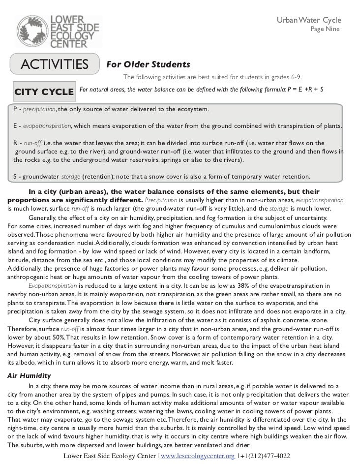Define Water Cycle Urban Water Cycle Page Nine